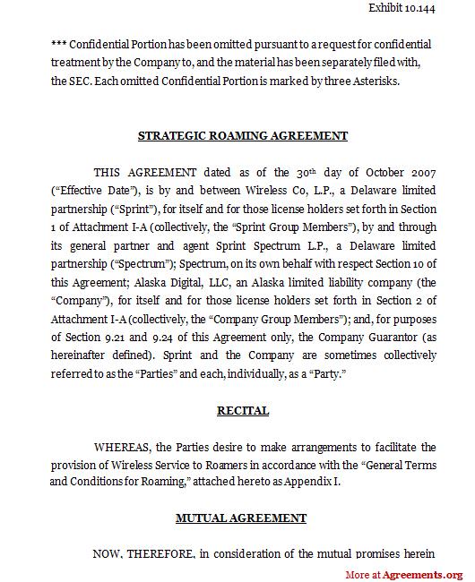 Strategic roaming agreement