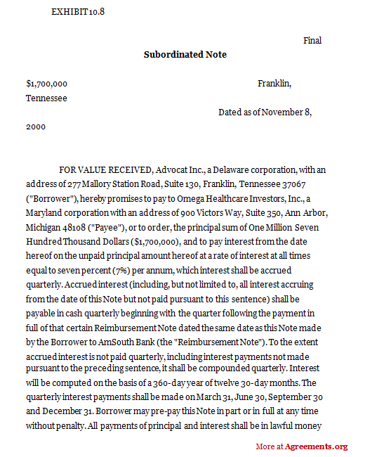 Subordinated Notes, Sample Subordinated Notes | Agreements.Org