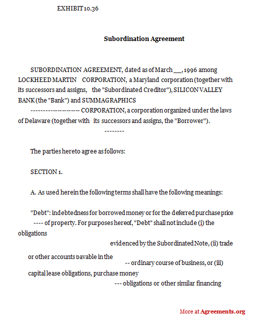 Subordination Agreement Sample Subordination Agreement