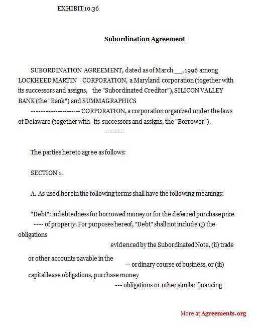 Subordination Agreement