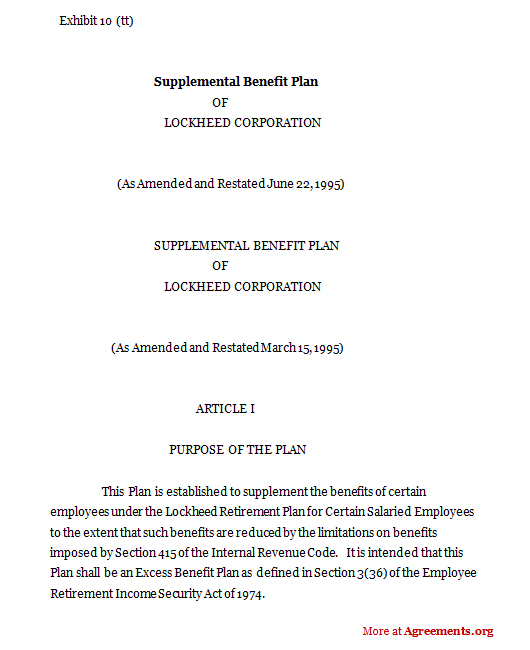 Supplemental benefit Plan