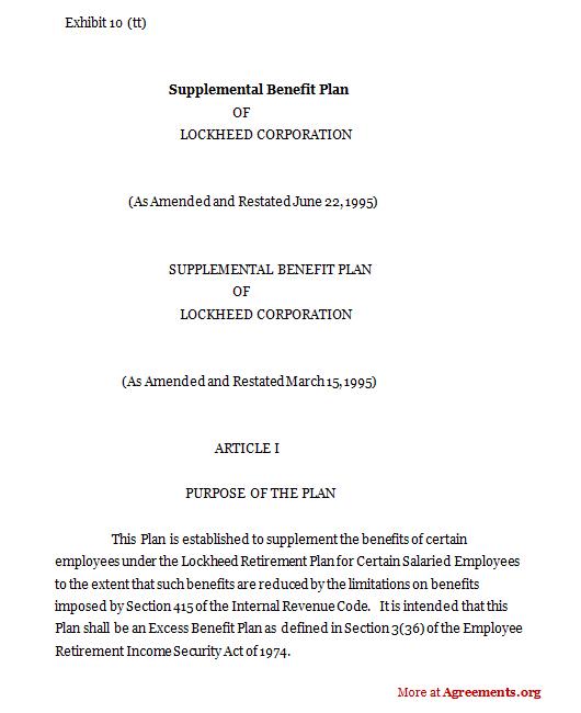 Supplemental benefit Plan