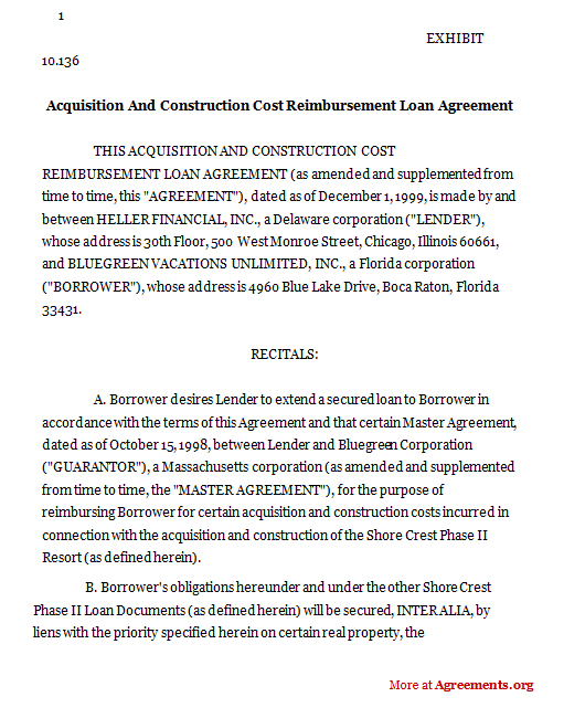 ACQUISITION AND CONSTRUCTION COST REIMBURSEMENT LOAN AGREEMENT