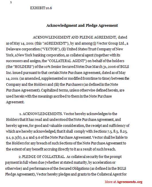 Acknowledgement and pledge agreement