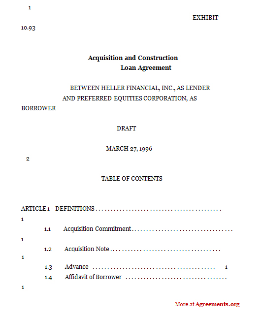 Acquisition And Construction Loan Agreement  Free Loan Document Template