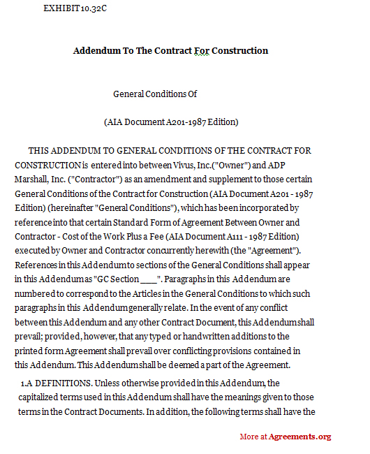 Addendum to the contract for construction