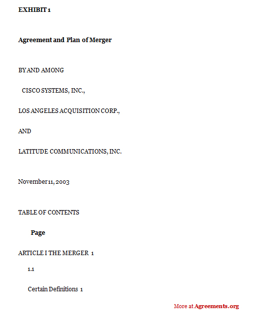 Agreement and plan of merger