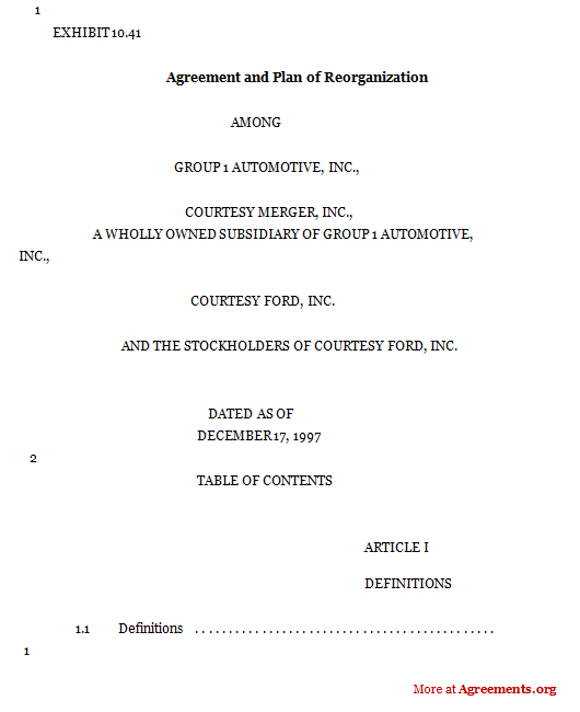 Agreement and plan of reorganization