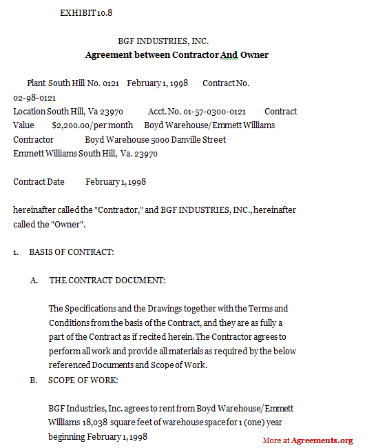 Agreement between contractor and owner