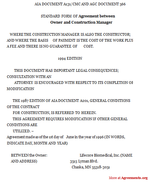 Agreement Between Owner And Construction Manager Sample Agreement