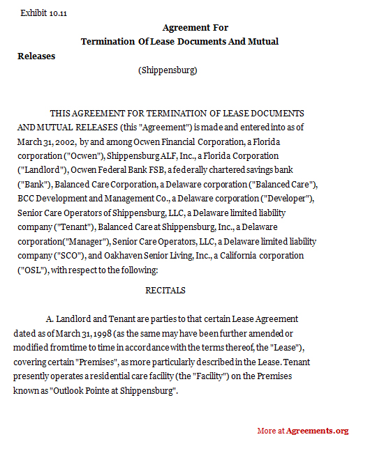 Agreement For Termination Of LeaseSample Agreement For