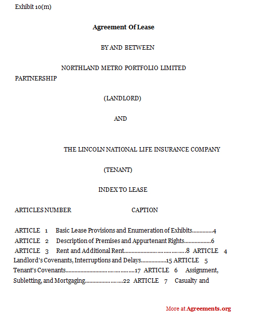Agreement of lease