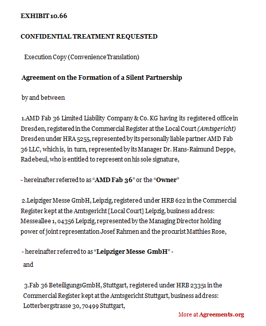 Agreement On The Formation Of A Silent Partnership,Sample