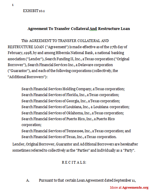 Agreement To Transfer Collateral And Restructure LoanSample