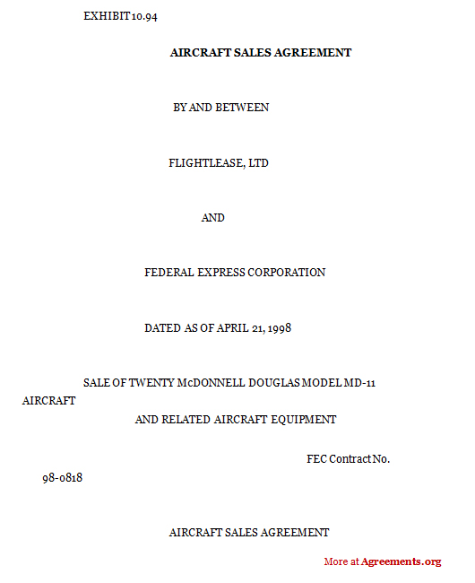 Aircraft sales agreement