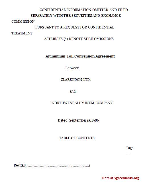 Aluminum toll conversion agreement
