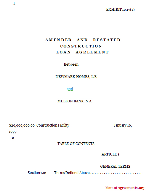 Amended  Restated Construction Loan AgreementSampleamended