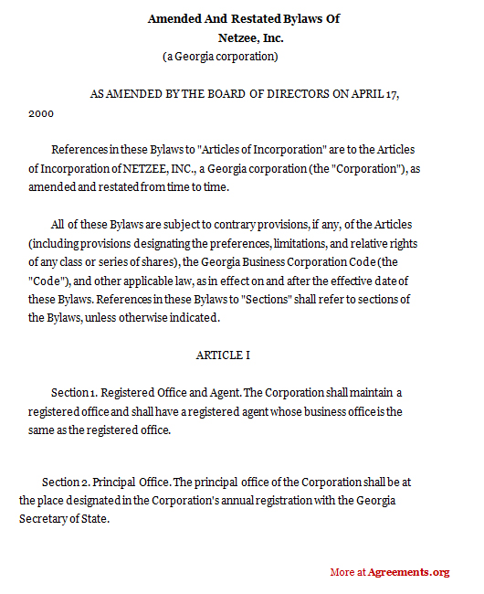 Amended and Restated Bylaws of Netzee