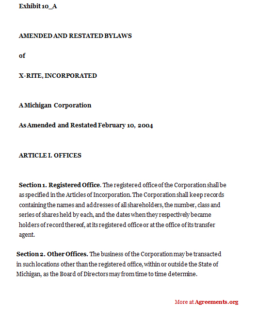 Amended and Restated Bylaws of X-Rite