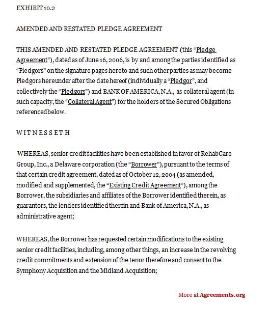 Download An Amended and Restated Pledge Agreement Template