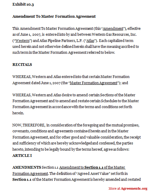 Amendment to Master Formation Agreement