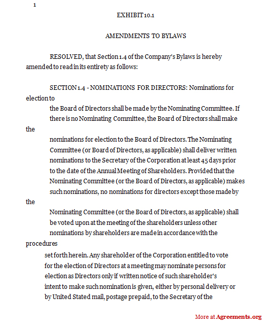 Amendments to Bylaws