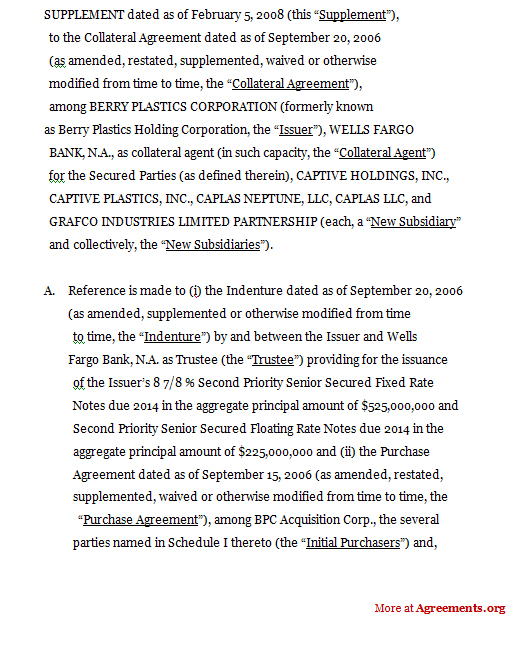 Supplement to collateral agreement