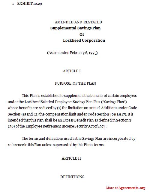 Supplemental savings plan of Lockheed