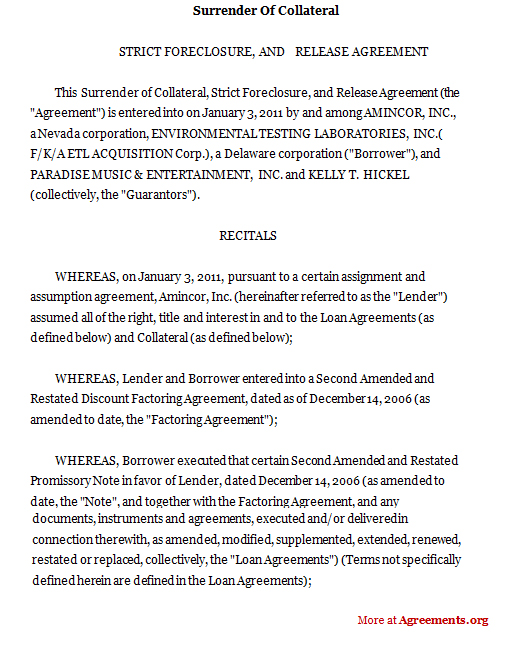Surrender Of Collateral Agreement Template Pdf Agreements Org