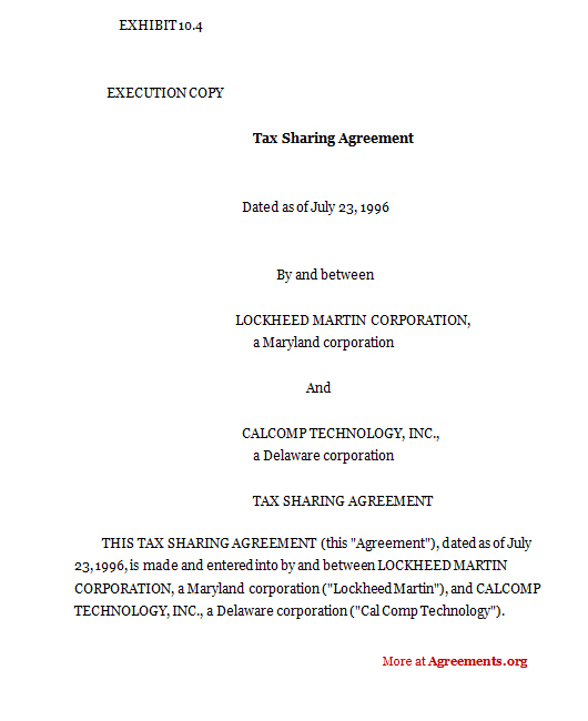 Tax sharing agreement