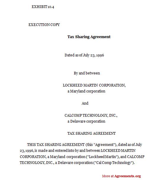 Tax sharing agreement