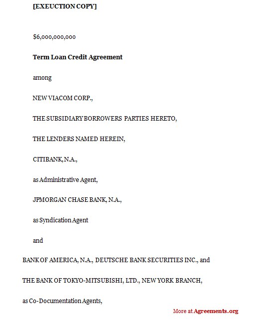 Term Loan Credit Agreement