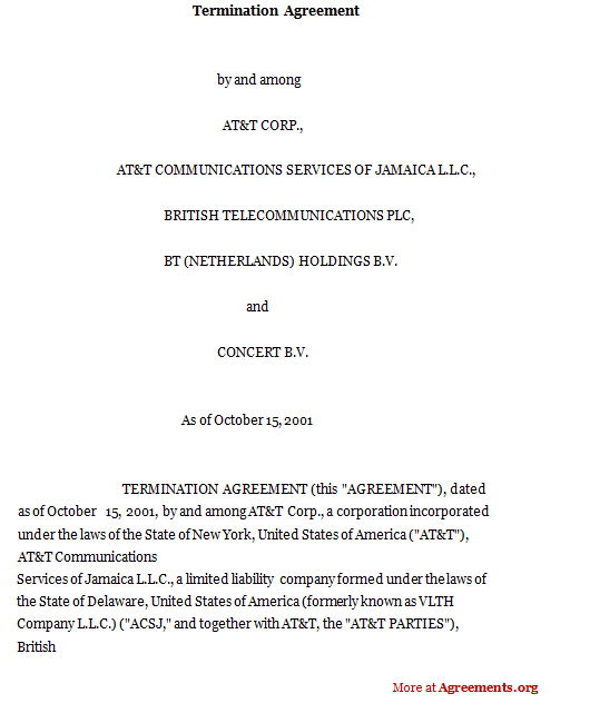 Termination Agreement Sample Termination AgreementagreementsOrg