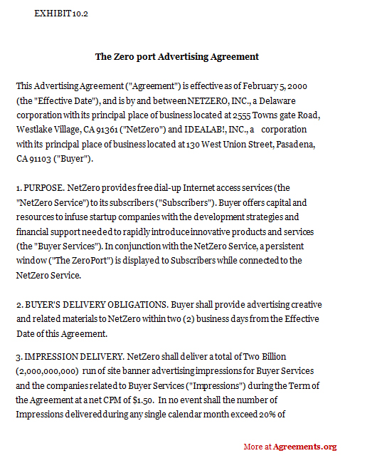 The Zeroport Advertising Agreement