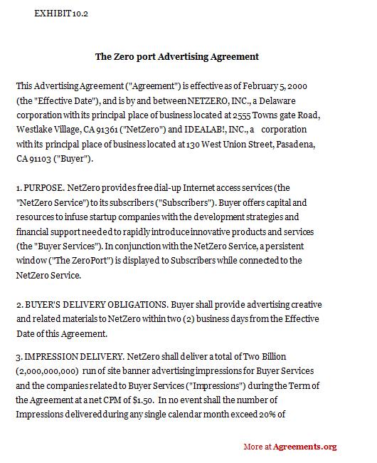 The Zeroport Advertising Agreement