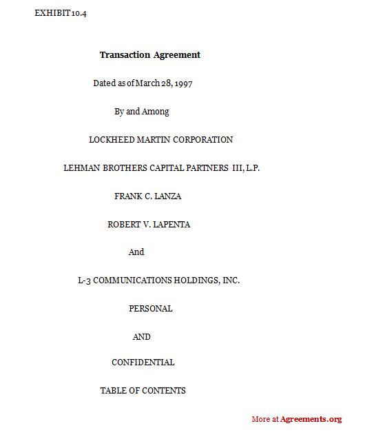 Transaction Agreement Template Hpcr Tk