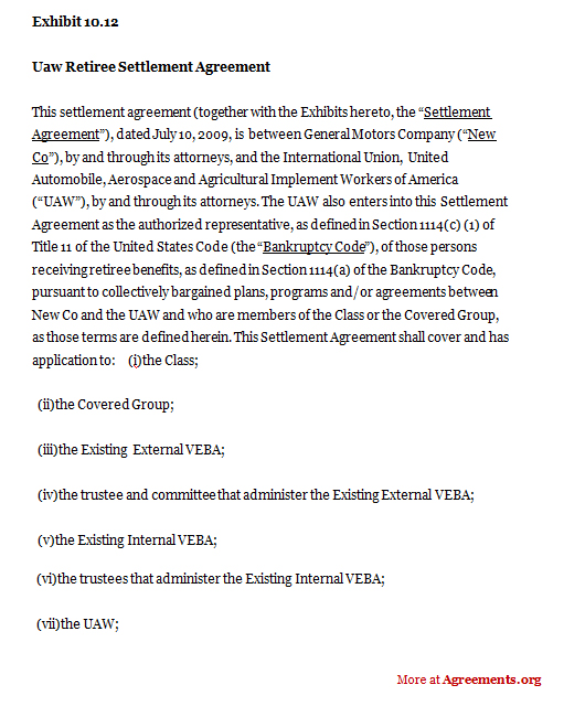 Download UAW Retiree Settlement Agreement Template