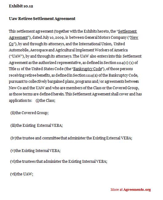 UAW Retiree Settlement Agreement