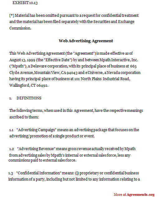 Advertising Contract Template Materials Retainer Agreement Template