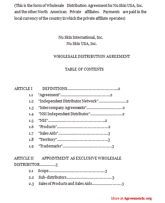 Wholesale Distribution Agreement Template Pdf Agreements Org