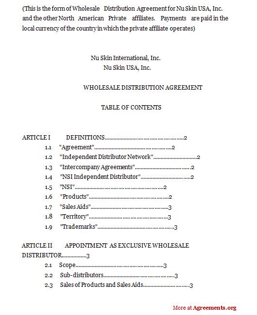Wholesale distribution agreement