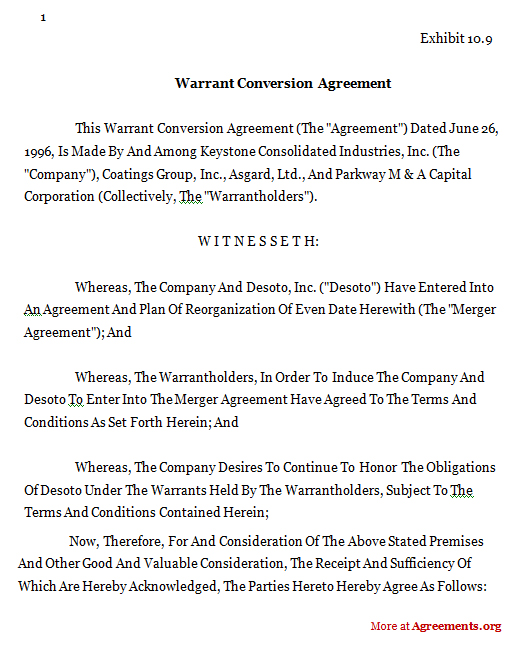 Conversion Warrant Agreement