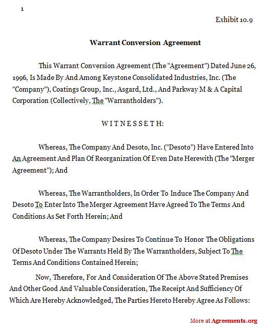 Conversion Warrant Agreement