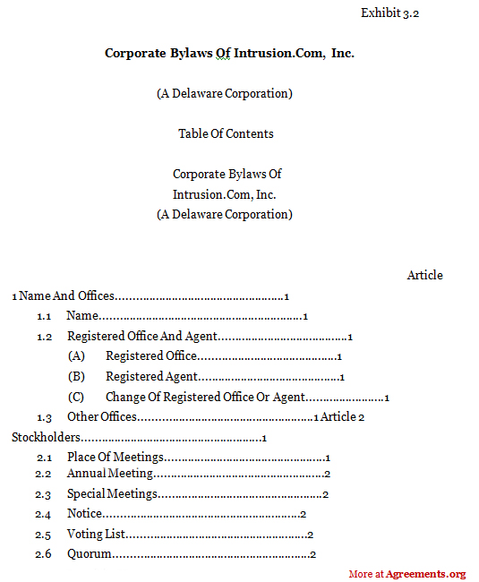 Corporate Bylaws Agreement