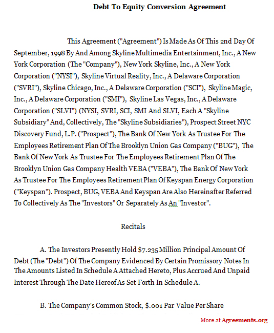 Debt To Equity Conversion Agreementsample Debt To Equity Conversion