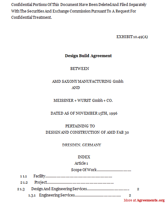 Design and Build Contract - Download Word & PDF | Agreements Org
