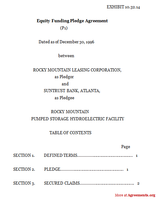 EQUITY FUNDING PLEDGE AGREEMENT