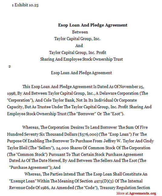 Download ESOP Loan and Pledge Agreement Template