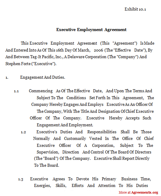 Executive Employment Agreement,Sample Executive Employment ...