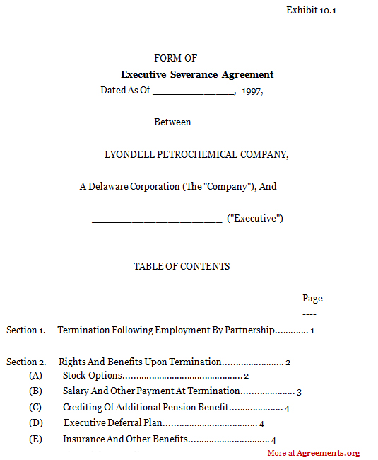 Executive Severance Agreement,Sample Executive Severance Agreement